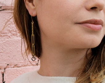 Long chain earrings geometric earrings rectangle earrings gold long dangle earrings linear drop earrings chunky brass - Hilda Earrings