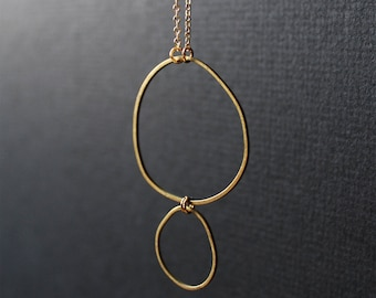 Double circle gold necklace for women modern dainty pendant minimalist necklace simple short brass jewelry delicate freeform -TopoNecklace1