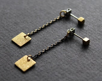 Front back earrings chain stud earrings gold ear jackets black geometric drop brass jewelry square dangle double sided cube earrings - Drew