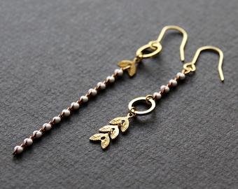 Asymmetrical earrings mismatched earrings dangle long white gold chain earrings metal leaf earrings chain link earrings brass jewelry -Norah