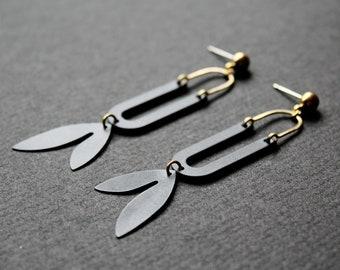 Long black earrings maple seed jewelry dangle leaf earrings statement earrings gold botanical unusual earrings nature gift - Samara Earrings