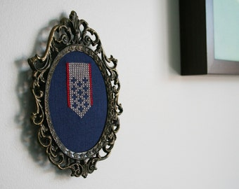 Conquest Wall Wear - wall art deco cross-stitch crossstitch embroidery linen blue gret red ornate frame framed hanging