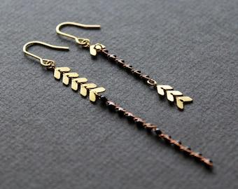 Asymmetrical earrings chevron earrings mismatched earrings black earrings long dangle earrings gold chain drop earrings brass jewelry -Blake