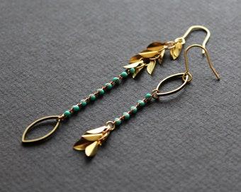 Turquoise color earrings metal leaf earrings asymmetrical marquise earrings mismatched earrings brass jewelry long gold chain earrings-Uzima