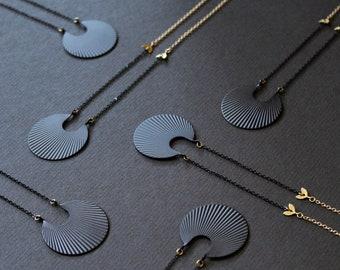 Crescent moon necklace matte black geometric necklace long necklaces for women art deco pendant fan necklace circle brass jewelry - Calixte