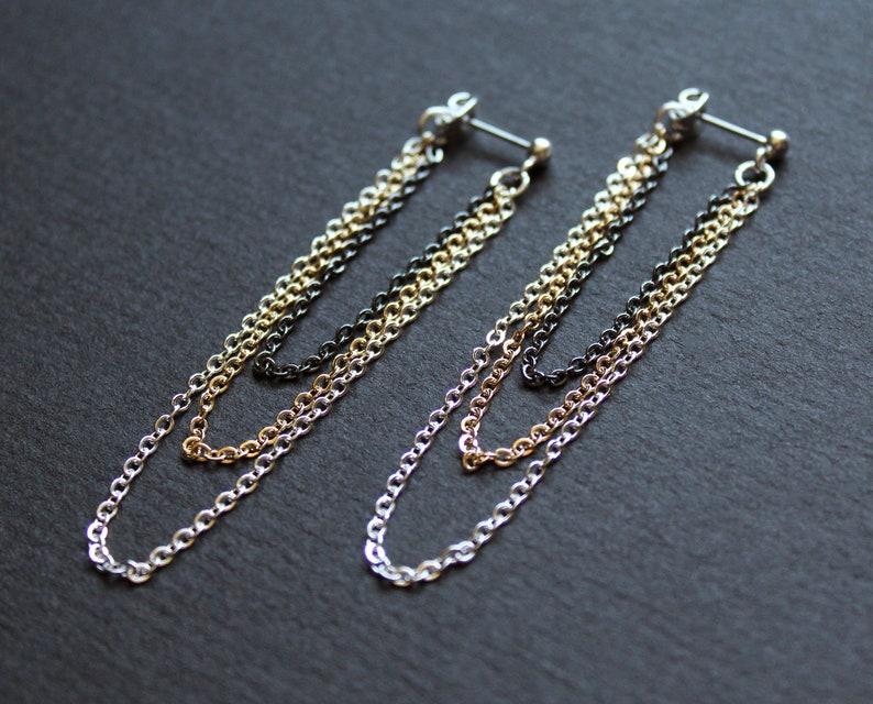 Front back earrings long chain earrings double sided earring popular right now multi chain earring jacket stud ear jacket unusual Shana