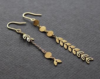 Metal leaf earrings asymmetrical earrings mismatched earrings brass jewelry long dangle earrings gold chain drop earrings unusual - Esther