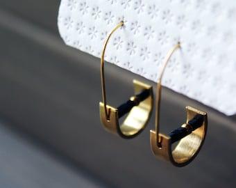 Half moon earrings geometric earrings brass earrings small gold hoops black hoop earrings minimalist jewelry trending now - Unity Earrings
