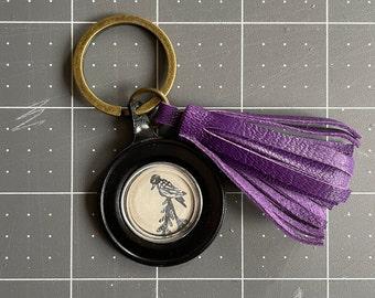 Leather Tassel Keychain Purse Charm - One of a kind - Handmade