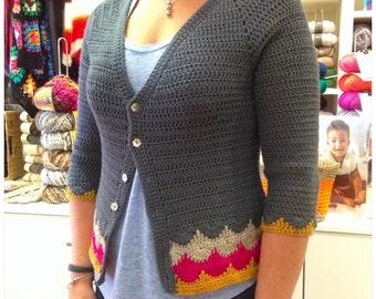 Libertas Cardigan PDF Pattern Digital Download Instant tricot Scallops Handmade Jacket Email
