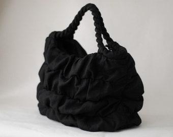 Ruffled Black Linen Bag