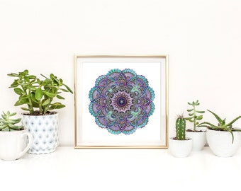 Mandala Print / Mandala Art / Gallery Wall Prints / Yoga Print / Meditation Print / Watercolor Mandala / Square or Rectangle / Up to 13x19