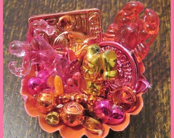Mardi Gras Bead Assemblage: Pink and Orange