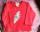 Star Wars Grateful Dead X Wing Fighter ~ Red Baby Shirt Sz 6-12M ~ Repurposed ~ Applique ~ OoaK