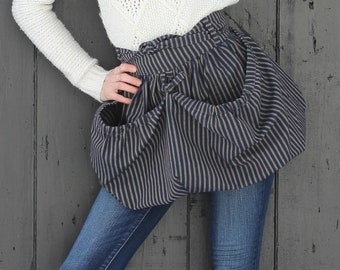 Reg or Plus-Gathering Apron in Navy Stripe Homespun for harvesting the garden, foraging and collecting and carrying tools.