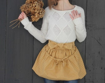 Reg or Plus-Gathering Apron in Yellow Plaid Homespun for harvesting the garden, foraging and collecting and carrying tools.