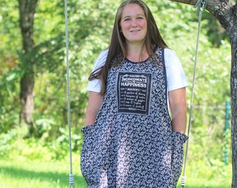 XS- 5X No Ties Apron in Recipe for Happiness Print