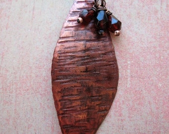 Ember Red Opal Striated Copper Petal Pendant with Garnet - 2.25 inches