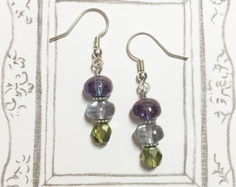Japanese Washi Earrings Blue vs Gold Earrings Cute Earrings Gift for her BFF Gift Birthday Gift Christmas Gift Glass Dome earrings
