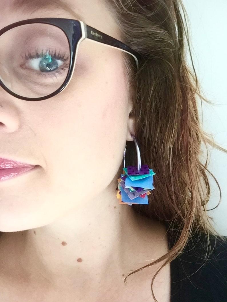 Fun unique Australia Recycled fabric Hoop earrings Confetti party Textile handmade jewellery Black fluro bright Fabric confetti