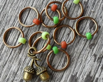 Small Snag Free Knitting Stitch Markers Bronze Tone Acorns Brown Green Beads Fits Needles Up To 5.5mm
