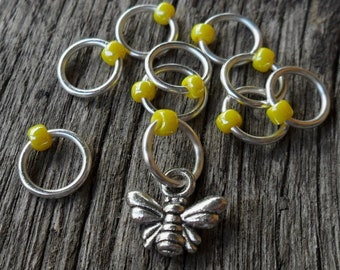 Small Snag Free Knitting Stitch Markers Silver Tone Honey Bee Charm Yellow Seed Beads Fits Needles Up To 4.5mm