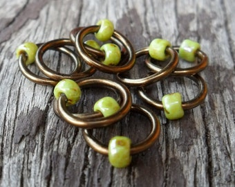 Dangle Free Knitting Stitch Markers Picasso Sour Apple Green Choose Ring Size and Quantity