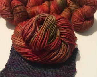 CLEARANCE 50% off HEIRLOOM TOMATOES hand-dyed wool silk bulky yarn
