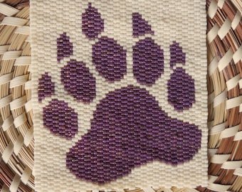 """PATTERN: 2-Drop Even Count Peyote Stitch Mini-Tapestry, """"Bear Paw"""", 2 Colors"""