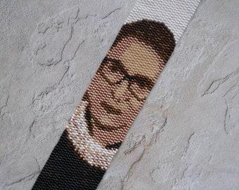 "PATTERN: 2-Drop Even Count Peyote Stitch Bracelet, ""RBG"" Ruth Bader Ginsburg"