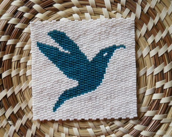 "PATTERN: 2-Drop Even Count Peyote Stitch Mini-Tapestry, ""Hummingbird"", 2 Colors"