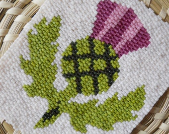"""PATTERN: 2-Drop Even Count Peyote Stitch Mini-Tapestry, """"Thistle"""", 5 Colors"""
