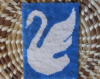 """PATTERN: 2-Drop Even Count Peyote Stitch Mini-Tapestry, """"Swan"""", 2 Colors"""