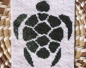 """PATTERN: 2-Drop Even Count Peyote Stitch Mini-Tapestry, """"Turtle"""", 2 Colors"""