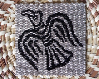 """PATTERN: 2-Drop Even Count Peyote Stitch Mini-Tapestry, """"Raven"""", 2 Colors"""