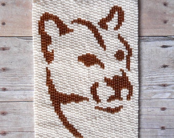 """PATTERN: 2-Drop Even Count Peyote Stitch Mini-Tapestry, """"Mountain Lion"""", 2 Colors"""