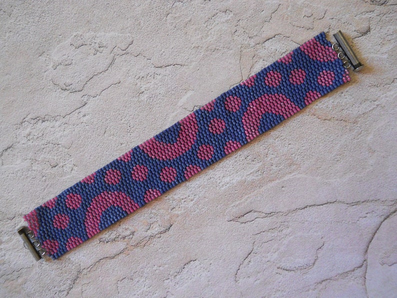 2 Colors PATTERN 2-Drop Even Count Peyote Stitch Bracelet Circles /& Dots