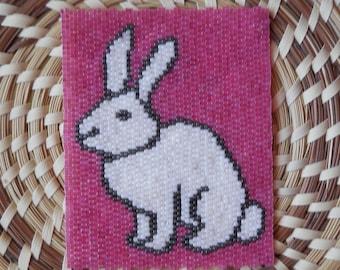 "PATTERN: 2-Drop Even Count Peyote Stitch Mini-Tapestry, ""Rabbit"", 3 Colors"