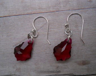 Earrings: Red Swarovski Baroque Crystals, Sterling Silver Earhooks