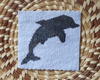 """PATTERN: 2-Drop Even Count Peyote Stitch Mini-Tapestry, """"Dolphin"""", 2 Colors"""