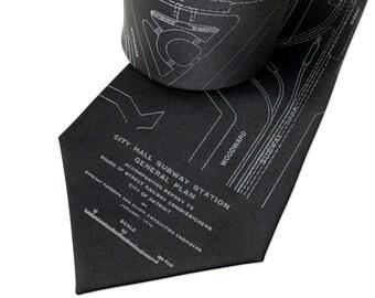Detroit subway map silk necktie. Vintage blueprint necktie. Michigan historical design. Choose standard or narrow.