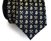 Bitcoin Silk Necktie. Blockchain, Finance, Internet Money, Digital Currency. Bitcoin Miner gift, btc, crypto gift, cryptocurrency men's tie.