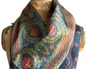 Fisher Building Scarf, gift for architect. Floral print Art Deco mosaic neck scarf, mens ascot. Architect gift, gift for Detroiter.
