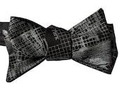 New Orleans Map Bow Tie, self tie bow tie. NOLA, City of New Orleans, Louisiana, Mardi Gras, New Orleans wedding, mens bow tie. Black tie
