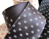 Cat Dot Necktie. Tiny Cat Face Polka Dot Mens Tie. Cats Print Tie: Gifts for cat lovers, cat dad gift, cat lady, veterinarian gift