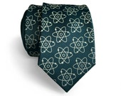 Atom print necktie. Atomic tie. Molecule, atoms print science tie: Nucleus, electron model. Nuclear medicine, atomic energy gift.