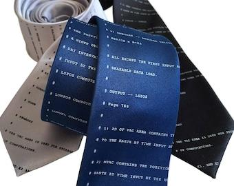 Apollo 11 Code Necktie. NASA Astronaut Source Code Tie. To the Moon! Lunar Module, space lover gift, developer gift, computer science