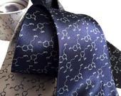 Serotonin & Dopamine Necktie, Molecule print tie. Happiness Molecules Men's Silk Tie. Gift for science teacher, psychologist, chemist gift.