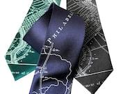 Philadelphia City Map Silk Necktie.  Pennsylvania silkscreen print men's tie. Philly gift. Choose narrow or standard size.