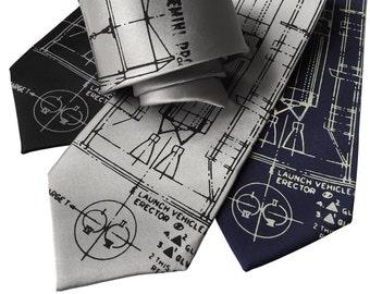 Project Gemini Necktie. Titan Launch Vehicle & Erector diagram. NASA rocket spacecraft men's tie. Silkscreen print. Space gift.